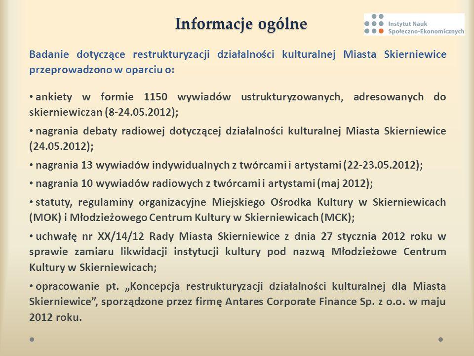 Cel i zakres badania Przedmiotowe badanie przeprowadzono w celu dostarczenia Urzędowi Miasta Skierniewice analizy pod kątem zwiększenia efektywności działań restrukturyzacyjnych w obszarze kultury Skierniewic.