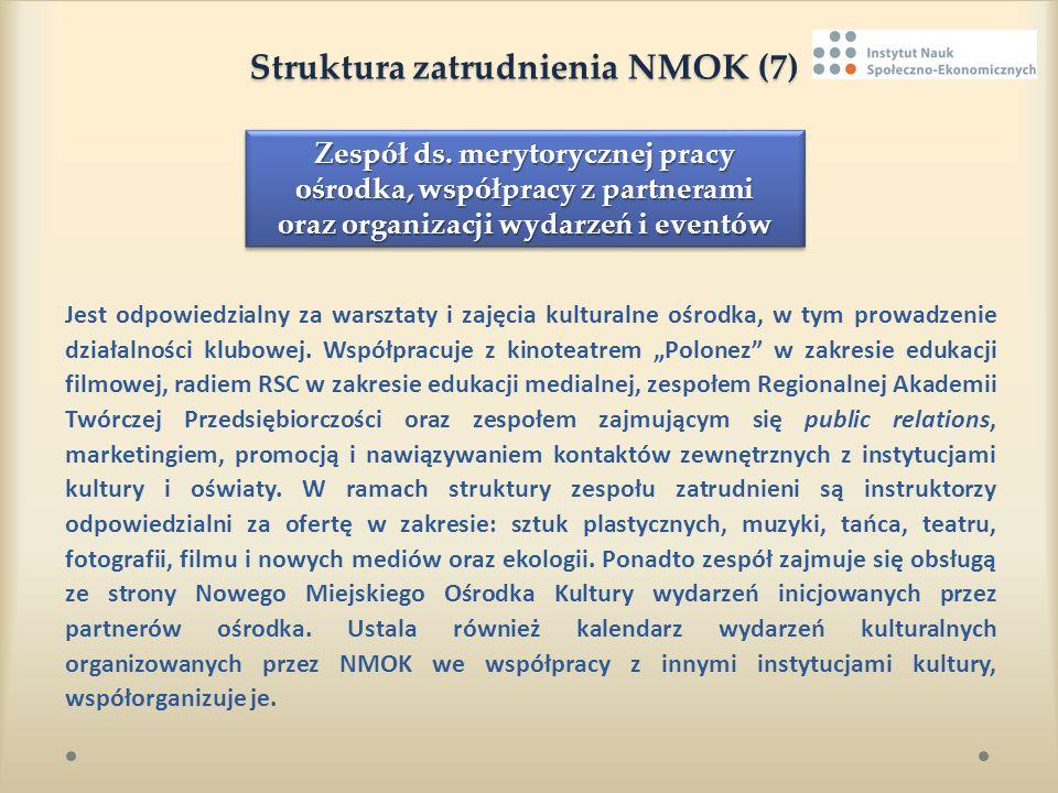 Struktura zatrudnienia NMOK (7) Struktura zatrudnienia NMOK (7) Jest odpowiedzialny za warsztaty i zajęcia kulturalne ośrodka, w tym prowadzenie dział