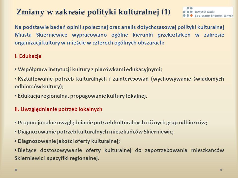 Zmiany w zakresie polityki kulturalnej (1) Na podstawie badań opinii społecznej oraz analiz dotychczasowej polityki kulturalnej Miasta Skierniewice wy