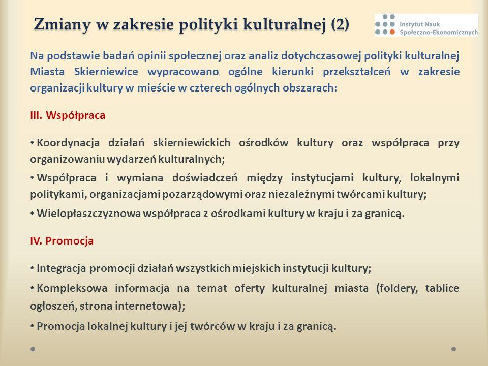 Zmiany w zakresie polityki kulturalnej (2) Na podstawie badań opinii społecznej oraz analiz dotychczasowej polityki kulturalnej Miasta Skierniewice wy