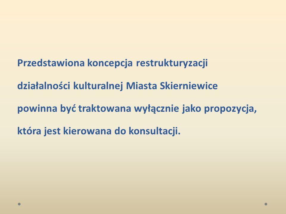 Przedstawiona koncepcja restrukturyzacji działalności kulturalnej Miasta Skierniewice powinna być traktowana wyłącznie jako propozycja, która jest kie