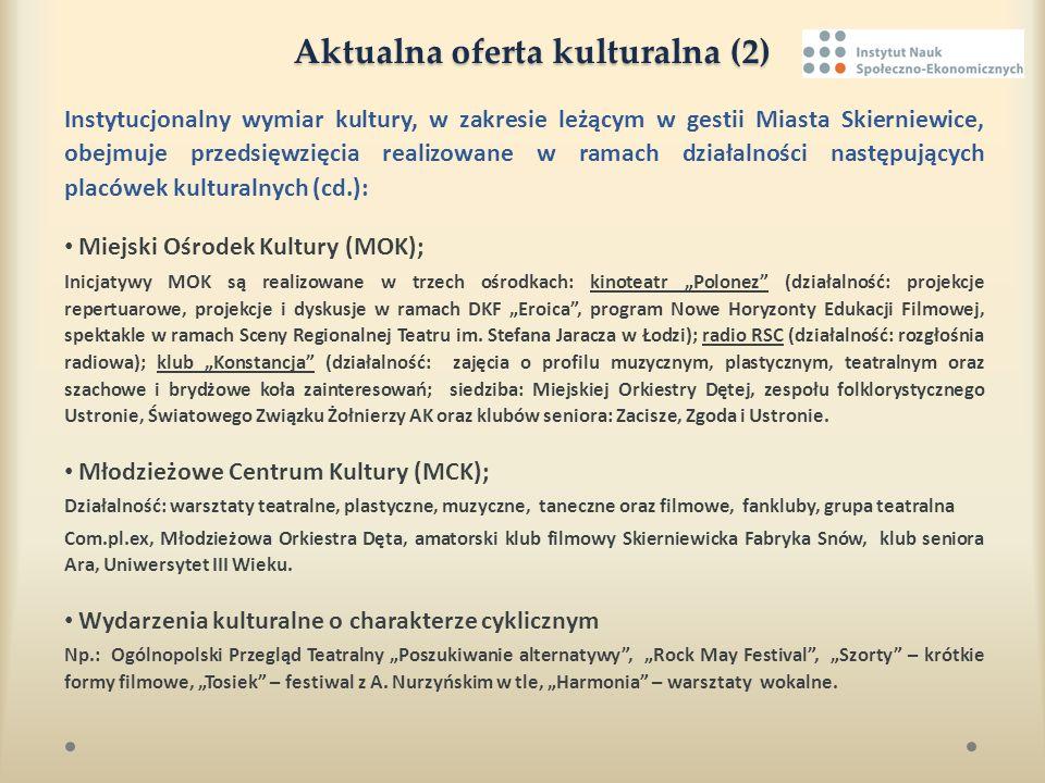 Aktualna oferta kulturalna (2) Instytucjonalny wymiar kultury, w zakresie leżącym w gestii Miasta Skierniewice, obejmuje przedsięwzięcia realizowane w