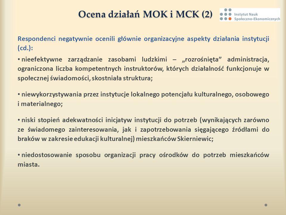 Ocena działań MOK i MCK (2) Respondenci negatywnie ocenili głównie organizacyjne aspekty działania instytucji (cd.): nieefektywne zarządzanie zasobami