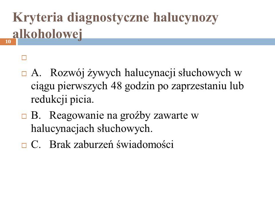 Kryteria diagnostyczne halucynozy alkoholowej 10 A. Rozwój żywych halucynacji słuchowych w ciągu pierwszych 48 godzin po zaprzestaniu lub redukcji pic