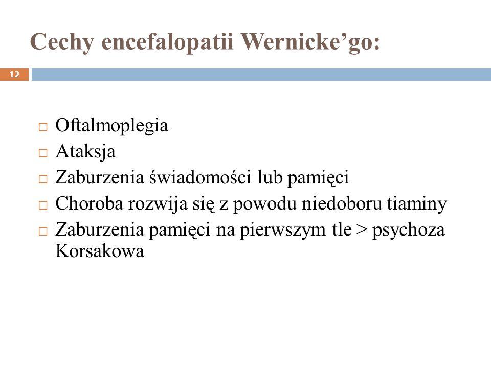 Cechy encefalopatii Wernickego: 12 Oftalmoplegia Ataksja Zaburzenia świadomości lub pamięci Choroba rozwija się z powodu niedoboru tiaminy Zaburzenia
