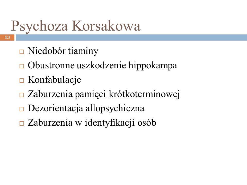 Psychoza Korsakowa 13 Niedobór tiaminy Obustronne uszkodzenie hippokampa Konfabulacje Zaburzenia pamięci krótkoterminowej Dezorientacja allopsychiczna