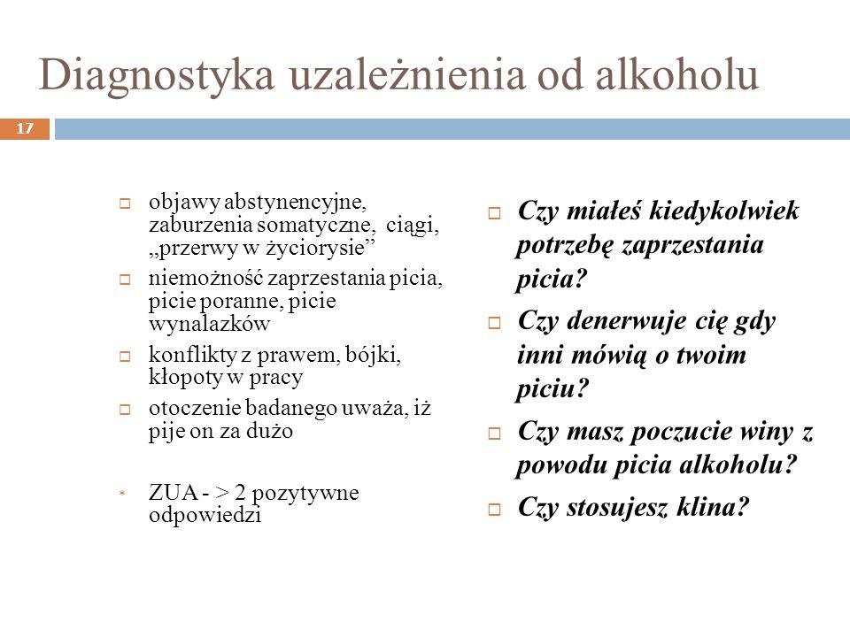 Diagnostyka uzależnienia od alkoholu objawy abstynencyjne, zaburzenia somatyczne, ciągi, przerwy w życiorysie niemożność zaprzestania picia, picie por