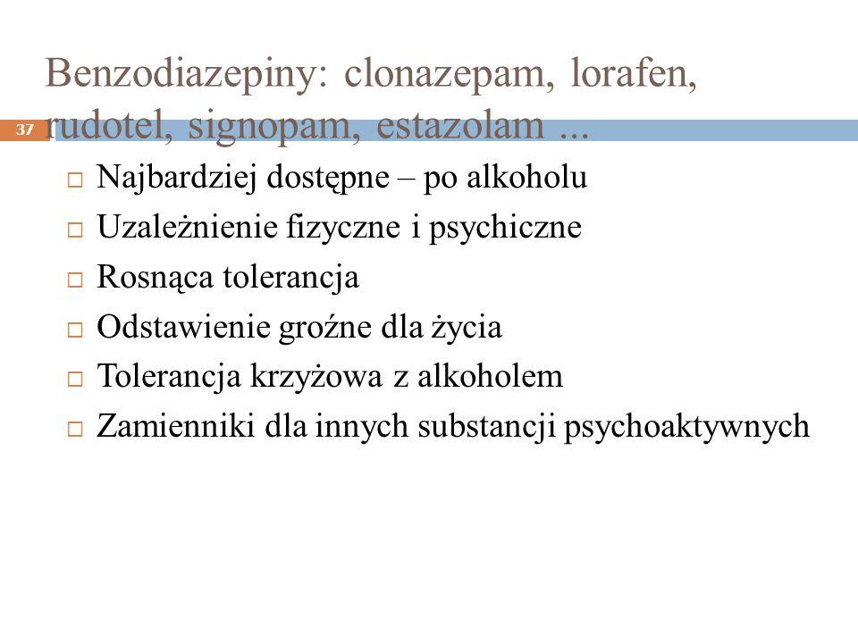 Benzodiazepiny: clonazepam, lorafen, rudotel, signopam, estazolam... 37 Najbardziej dostępne – po alkoholu Uzależnienie fizyczne i psychiczne Rosnąca