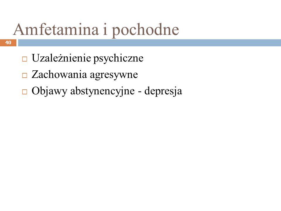 Amfetamina i pochodne 40 Uzależnienie psychiczne Zachowania agresywne Objawy abstynencyjne - depresja
