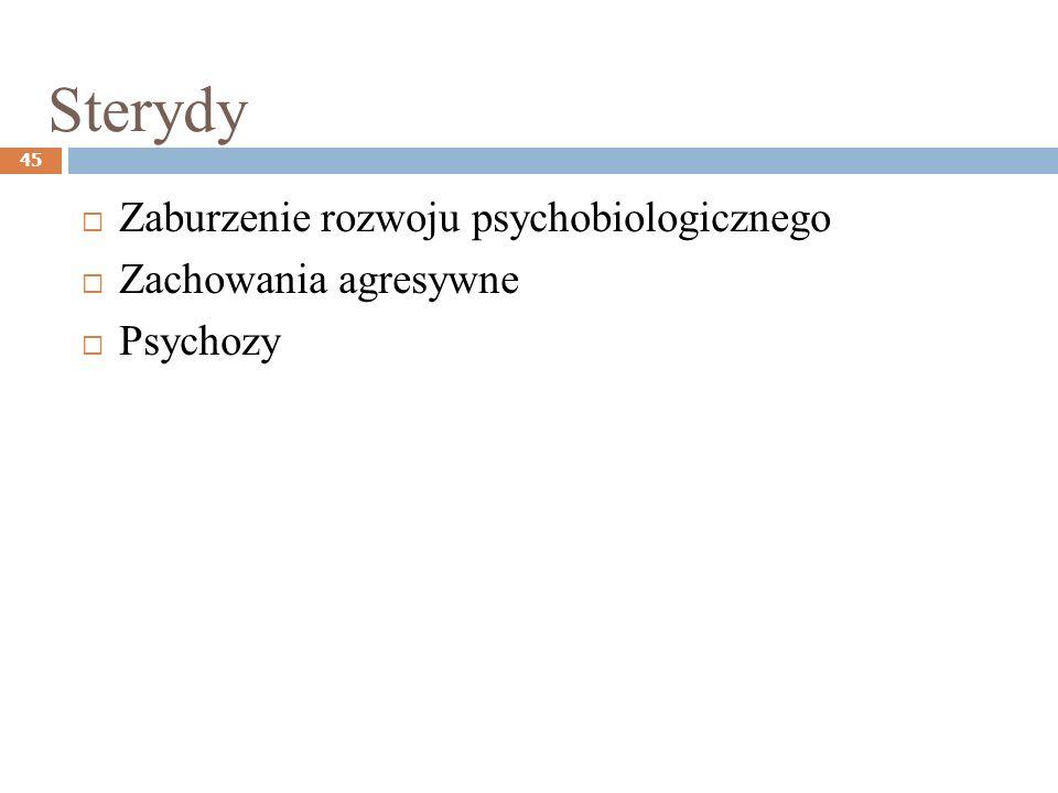 Sterydy 45 Zaburzenie rozwoju psychobiologicznego Zachowania agresywne Psychozy