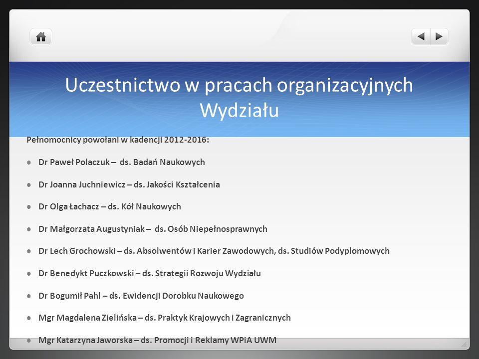 Uczestnictwo w pracach organizacyjnych Wydziału Pełnomocnicy powołani w kadencji 2012-2016: Dr Paweł Polaczuk – ds. Badań Naukowych Dr Joanna Juchniew