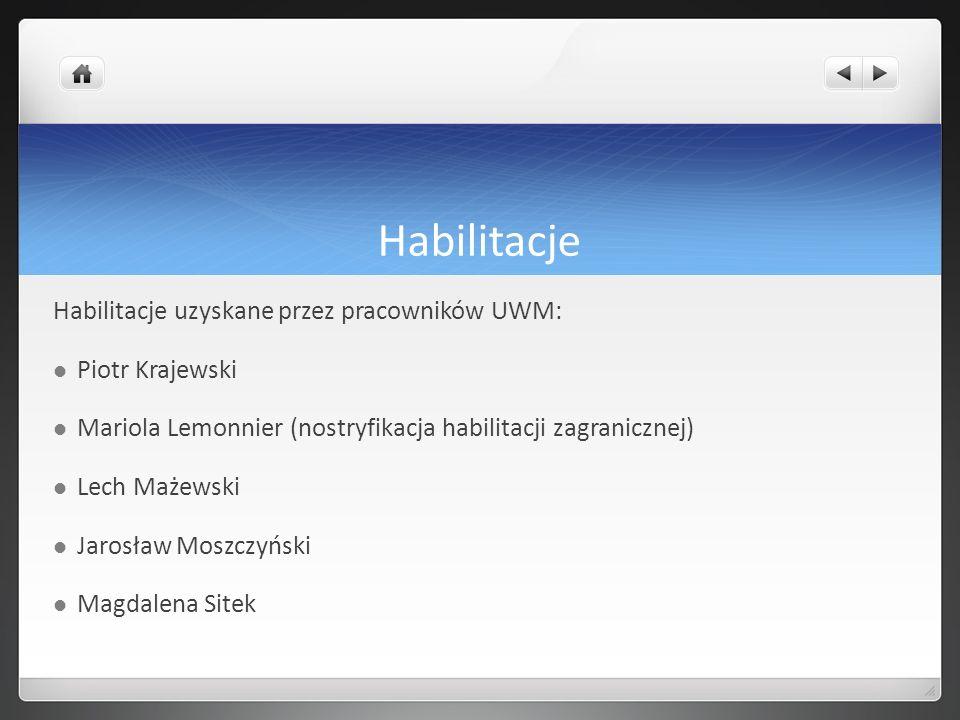 Habilitacje Habilitacje uzyskane przez pracowników UWM: Piotr Krajewski Mariola Lemonnier (nostryfikacja habilitacji zagranicznej) Lech Mażewski Jaros