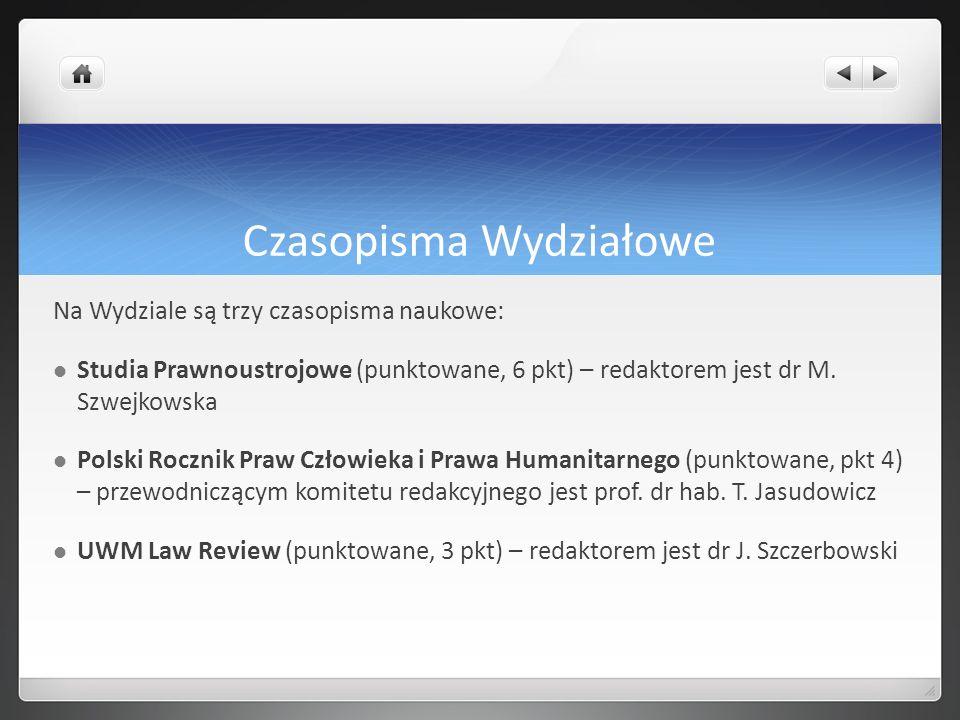Czasopisma Wydziałowe Na Wydziale są trzy czasopisma naukowe: Studia Prawnoustrojowe (punktowane, 6 pkt) – redaktorem jest dr M. Szwejkowska Polski Ro