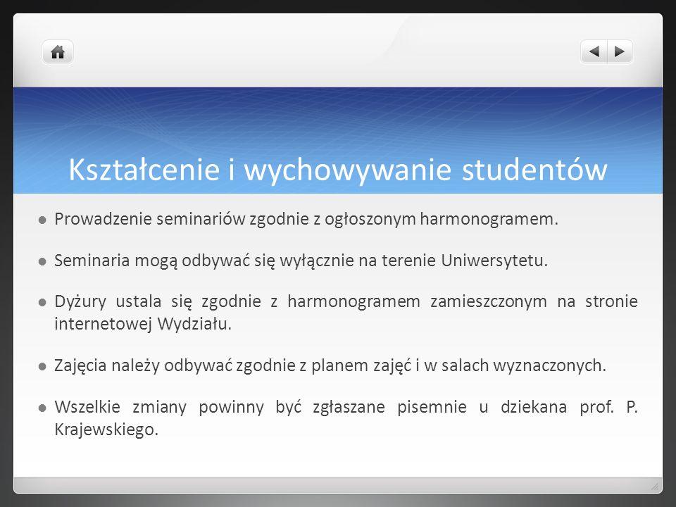 Kształcenie i wychowywanie studentów Prowadzenie seminariów zgodnie z ogłoszonym harmonogramem. Seminaria mogą odbywać się wyłącznie na terenie Uniwer