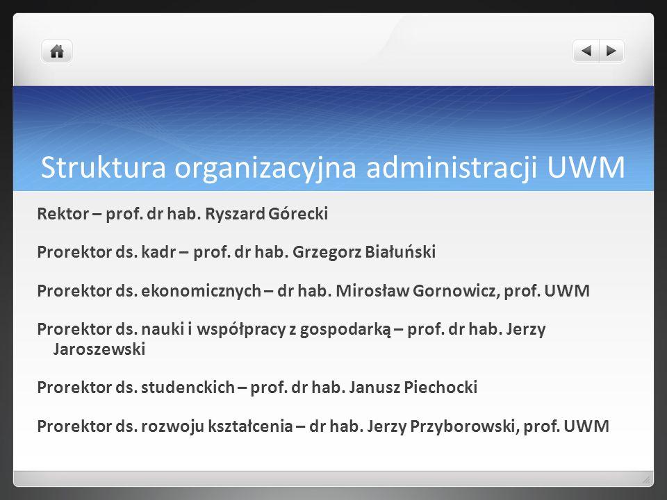 Struktura organizacyjna administracji UWM Rektor – prof. dr hab. Ryszard Górecki Prorektor ds. kadr – prof. dr hab. Grzegorz Białuński Prorektor ds. e