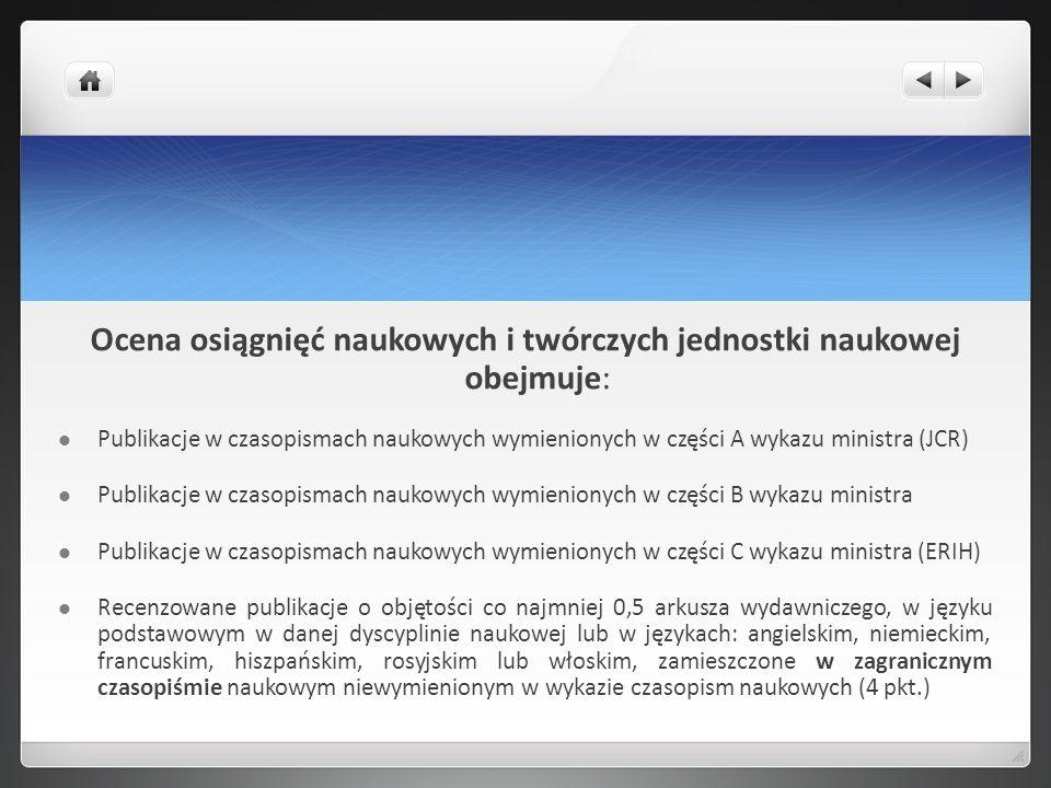 Ocena osiągnięć naukowych i twórczych jednostki naukowej obejmuje: Publikacje w czasopismach naukowych wymienionych w części A wykazu ministra (JCR) P