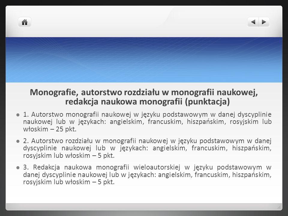 Monografie, autorstwo rozdziału w monografii naukowej, redakcja naukowa monografii (punktacja) 1. Autorstwo monografii naukowej w języku podstawowym w