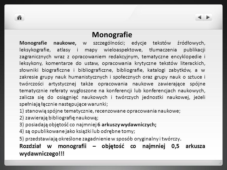 Monografie Monografie naukowe, w szczególności; edycje tekstów źródłowych, leksykografie, atlasy i mapy wieloaspektowe, tłumaczenia publikacji zagrani