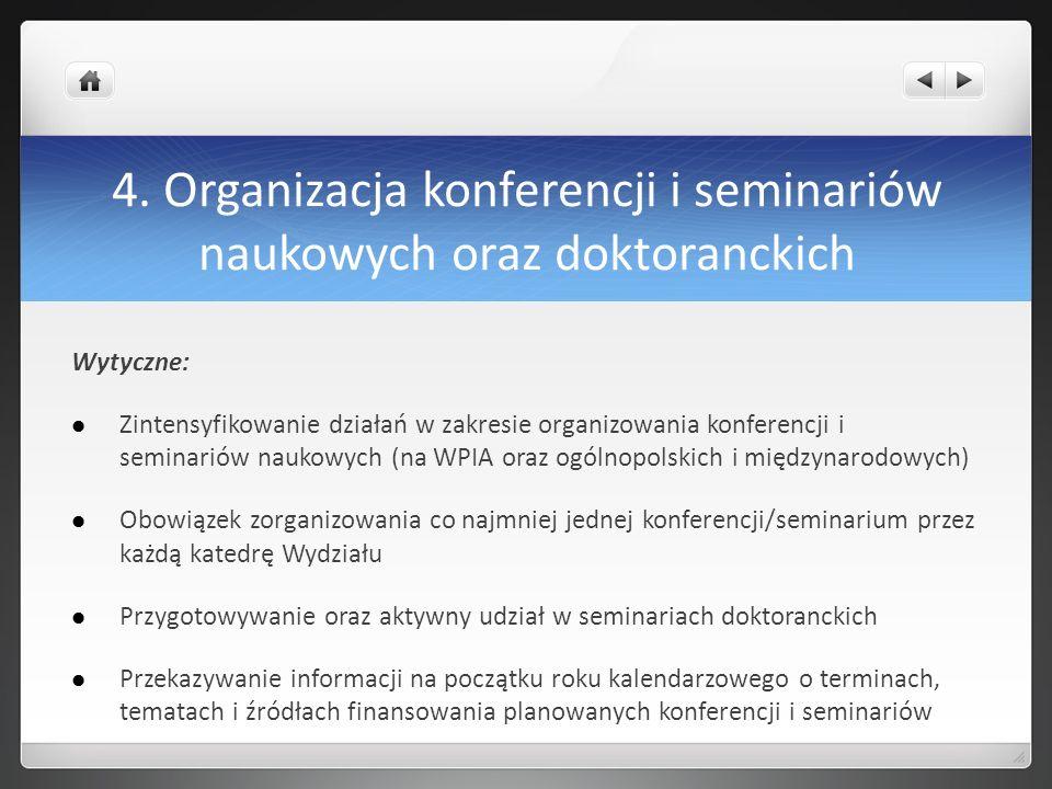 4. Organizacja konferencji i seminariów naukowych oraz doktoranckich Wytyczne: Zintensyfikowanie działań w zakresie organizowania konferencji i semina