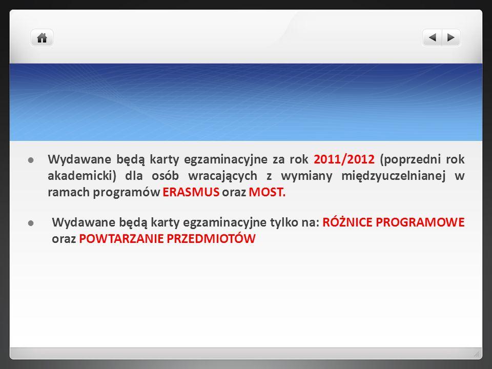 Wydawane będą karty egzaminacyjne za rok 2011/2012 (poprzedni rok akademicki) dla osób wracających z wymiany międzyuczelnianej w ramach programów ERAS