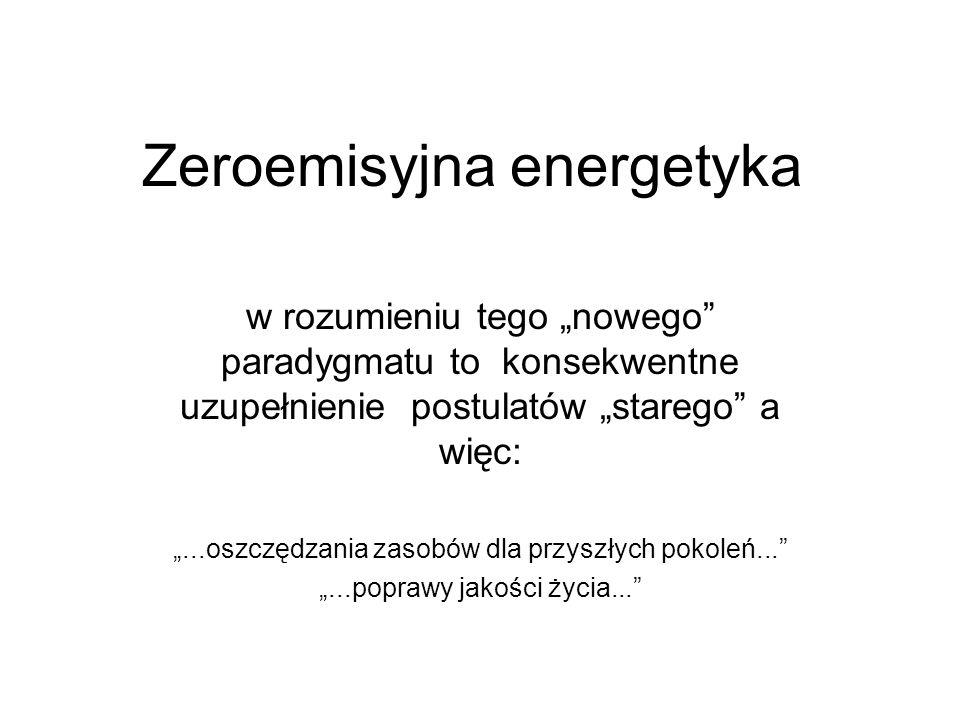 Zeroemisyjna energetyka w rozumieniu tego nowego paradygmatu to konsekwentne uzupełnienie postulatów starego a więc:...oszczędzania zasobów dla przysz