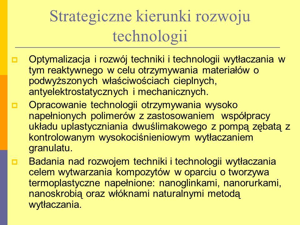 Strategiczne kierunki rozwoju technologii Optymalizacja i rozwój techniki i technologii wytłaczania w tym reaktywnego w celu otrzymywania materiałów o podwyższonych właściwościach cieplnych, antyelektrostatycznych i mechanicznych.