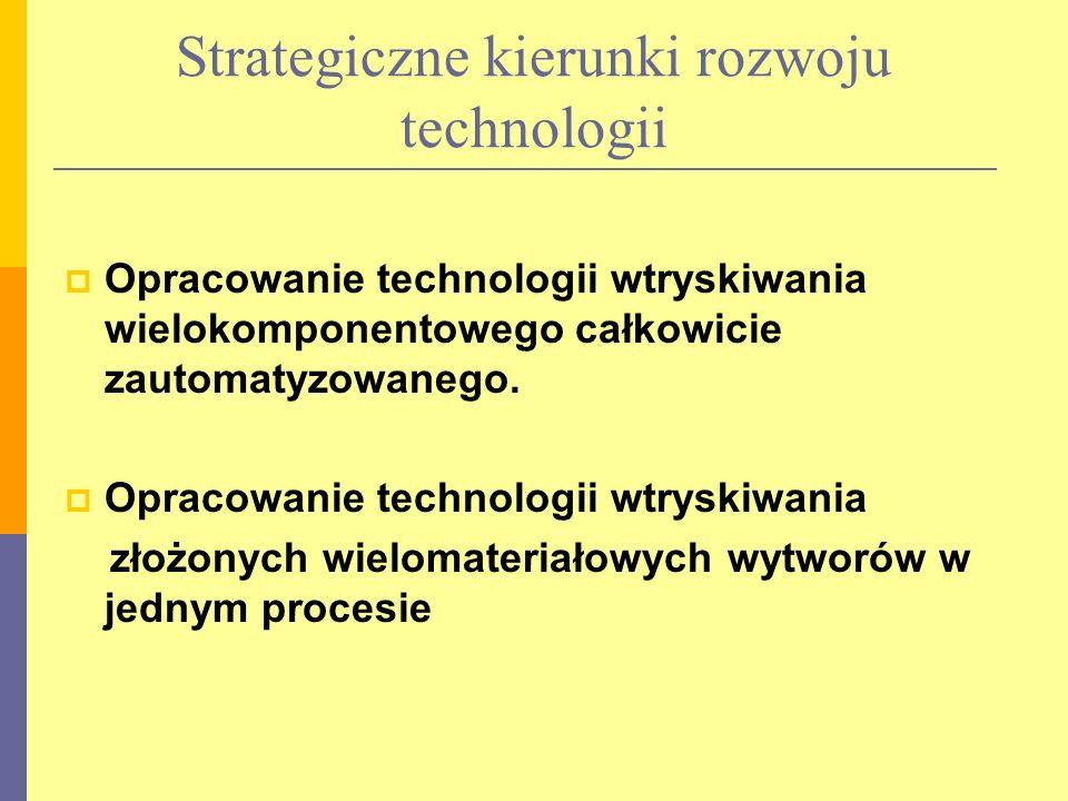 Strategiczne kierunki rozwoju technologii Opracowanie technologii wtryskiwania wielokomponentowego całkowicie zautomatyzowanego.