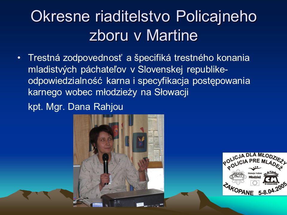 Trestná zodpovednosť a špecifiká trestného konania mladistvých páchateľov v Slovenskej republike- odpowiedzialność karna i specyfikacja postępowania k