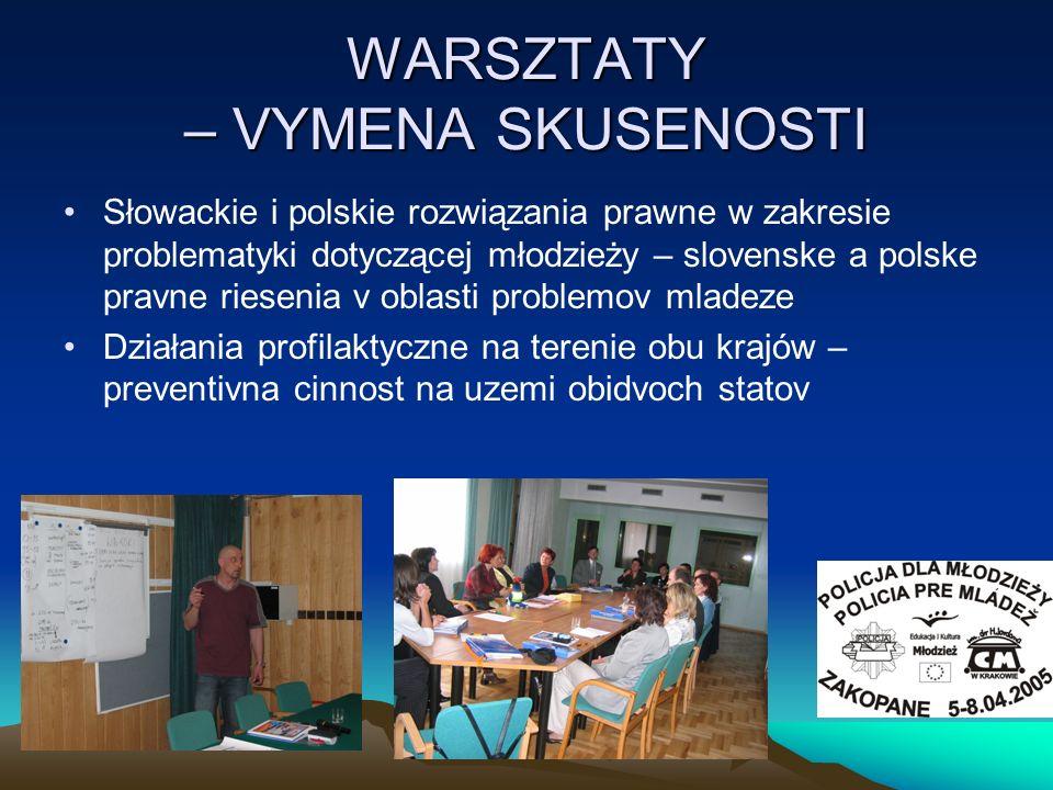 WARSZTATY – VYMENA SKUSENOSTI Słowackie i polskie rozwiązania prawne w zakresie problematyki dotyczącej młodzieży – slovenske a polske pravne riesenia