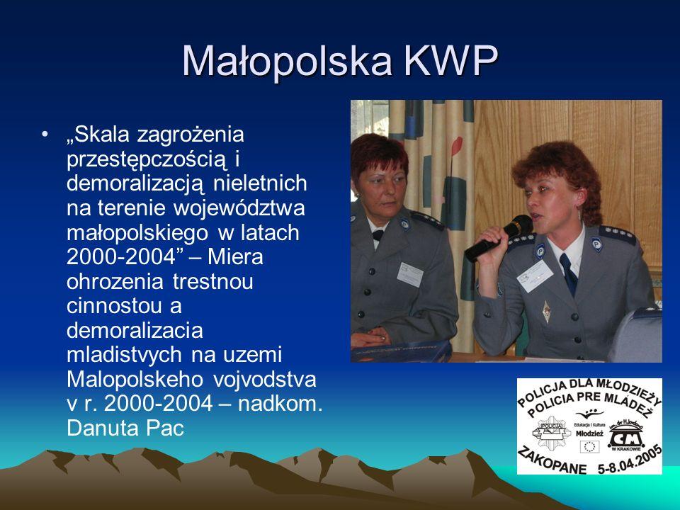 Małopolska KWP Skala zagrożenia przestępczością i demoralizacją nieletnich na terenie województwa małopolskiego w latach 2000-2004 – Miera ohrozenia t