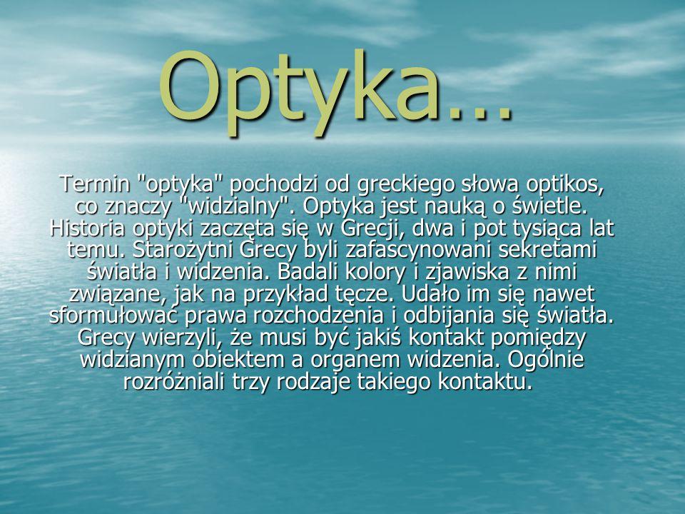 Co to jest światło.Termin optyka pochodzi od greckiego słowa optikos co znaczy widzialny.