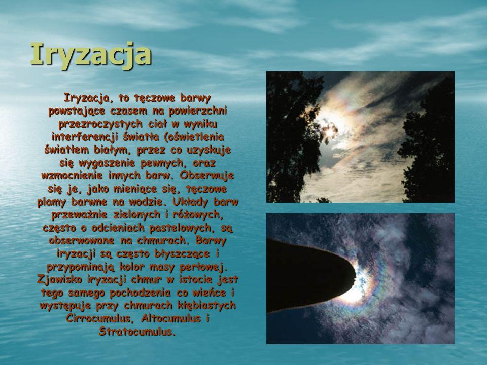 Iryzacja Iryzacja, to tęczowe barwy powstające czasem na powierzchni przezroczystych ciał w wyniku interferencji światła (oświetlenia światłem białym,