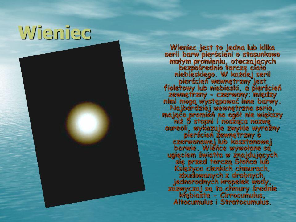 Wieniec Wieniec jest to jedna lub kilka serii barw pierścieni o stosunkowo małym promieniu, otaczających bezpośrednio tarczę ciała niebieskiego. W każ