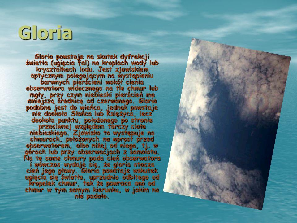 Gloria Gloria powstaje na skutek dyfrakcji światła (ugięcia fal) na kroplach wody lub kryształkach lodu. Jest zjawiskiem optycznym polegającym na wyst