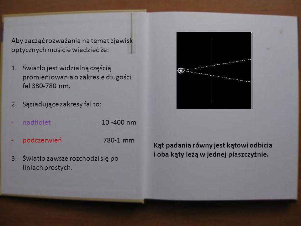 Jasiu w domu sprawdza materiał, który dostał od Pani Profesor. Aby zacząć rozważania na temat zjawisk optycznych musicie wiedzieć że: 1.Światło jest w