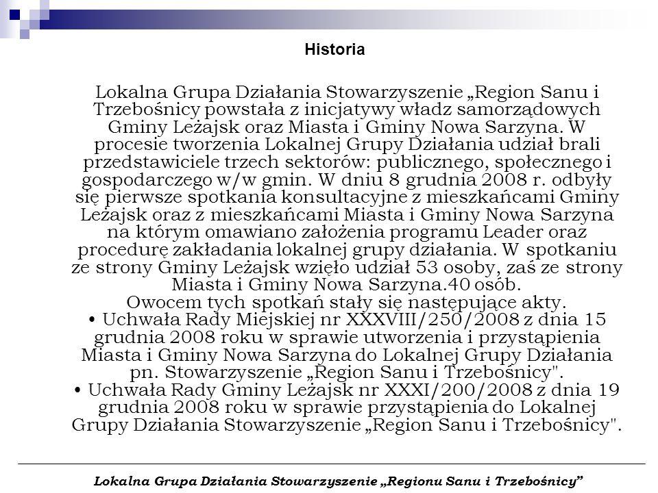 Historia Lokalna Grupa Działania Stowarzyszenie Region Sanu i Trzebośnicy powstała z inicjatywy władz samorządowych Gminy Leżajsk oraz Miasta i Gminy