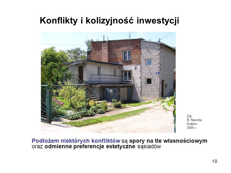 10 Konflikty i kolizyjność inwestycji Podłożem niektórych konfliktów są spory na tle własnościowym oraz odmienne preferencje estetyczne sąsiadów Zdj.