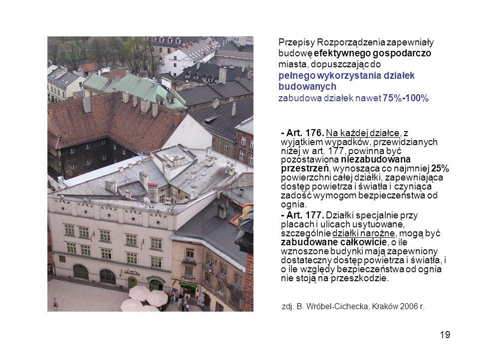19 zdj. B. Wróbel-Cichecka, Kraków 2006 r. - Art. 176. Na każdej działce, z wyjątkiem wypadków, przewidzianych niżej w art. 177, powinna być pozostawi