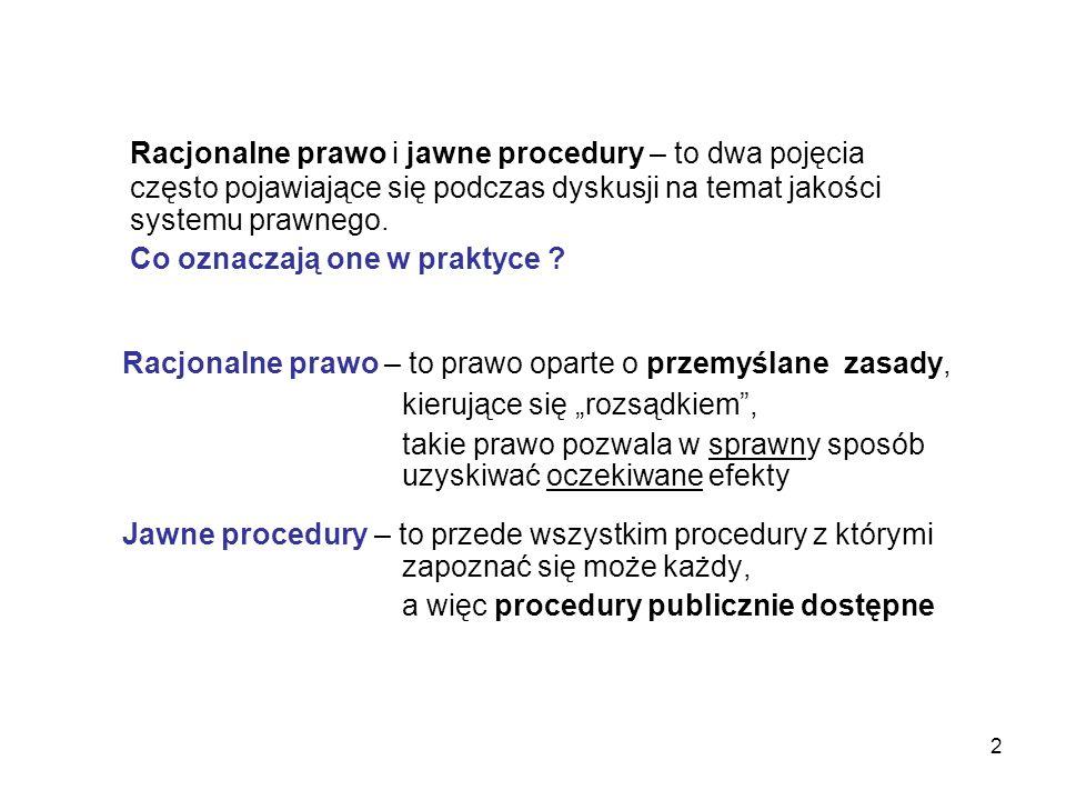 2 Racjonalne prawo i jawne procedury – to dwa pojęcia często pojawiające się podczas dyskusji na temat jakości systemu prawnego. Co oznaczają one w pr
