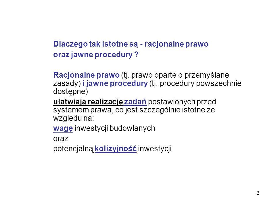 24 Podstawowym problemem działającego w Polsce systemu jest jego obszerność i skomplikowana budowa System regulujący procesy inwestycyjne składa się z kilkuset aktów prawa zawierających łącznie wiele tysięcy przepisów.