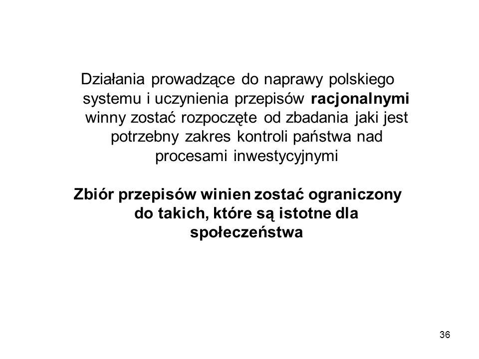 36 Działania prowadzące do naprawy polskiego systemu i uczynienia przepisów racjonalnymi winny zostać rozpoczęte od zbadania jaki jest potrzebny zakre