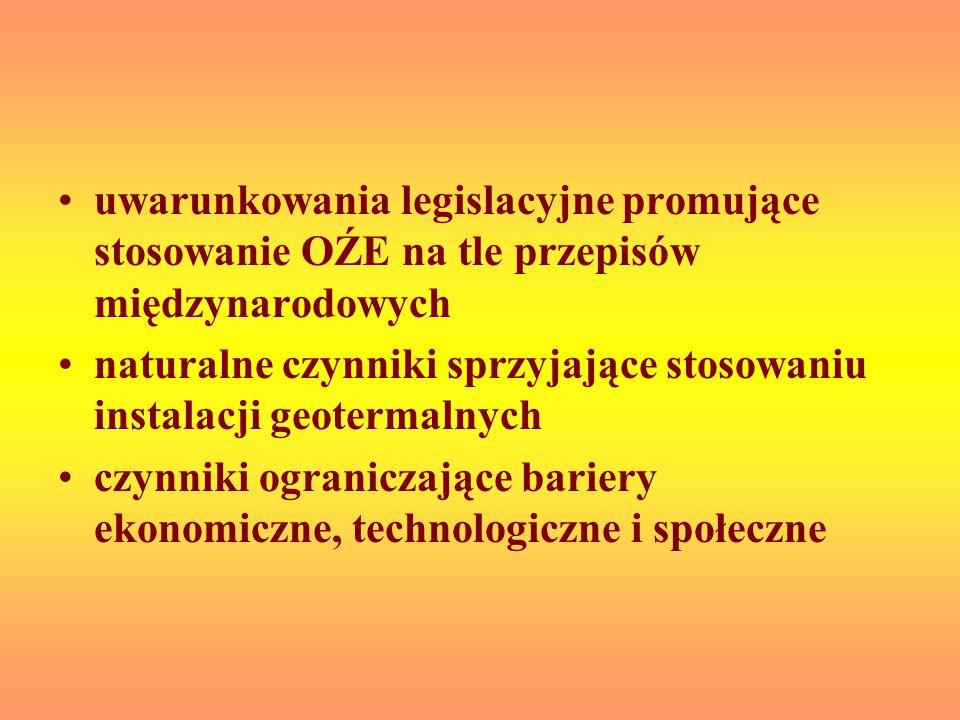 uwarunkowania legislacyjne promujące stosowanie OŹE na tle przepisów międzynarodowych naturalne czynniki sprzyjające stosowaniu instalacji geotermalny