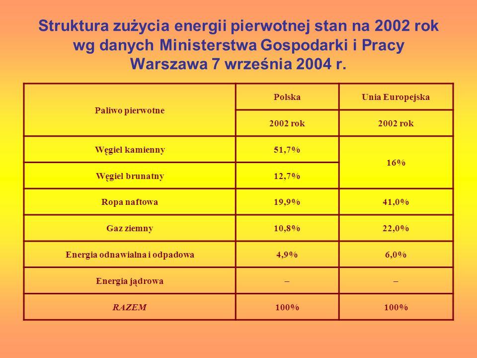 Struktura zużycia energii pierwotnej stan na 2002 rok wg danych Ministerstwa Gospodarki i Pracy Warszawa 7 września 2004 r. Paliwo pierwotne PolskaUni
