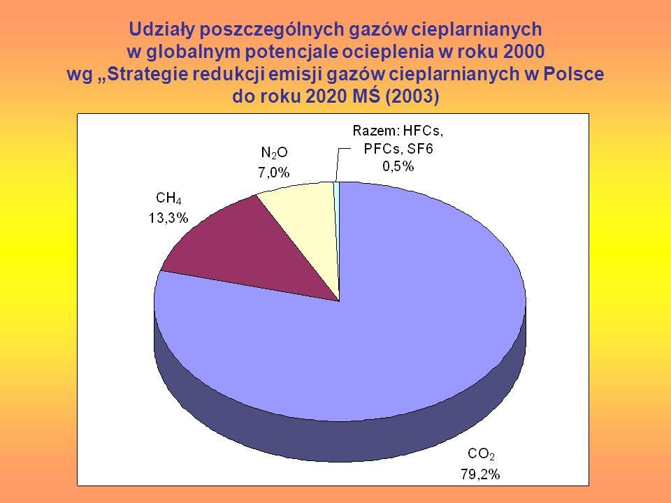 Udziały poszczególnych gazów cieplarnianych w globalnym potencjale ocieplenia w roku 2000 wg Strategie redukcji emisji gazów cieplarnianych w Polsce d