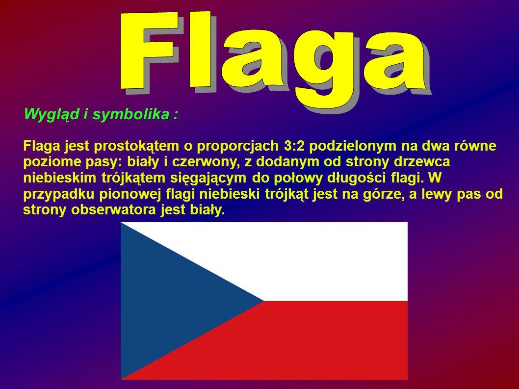 Wygląd i symbolika : Flaga jest prostokątem o proporcjach 3:2 podzielonym na dwa równe poziome pasy: biały i czerwony, z dodanym od strony drzewca niebieskim trójkątem sięgającym do połowy długości flagi.