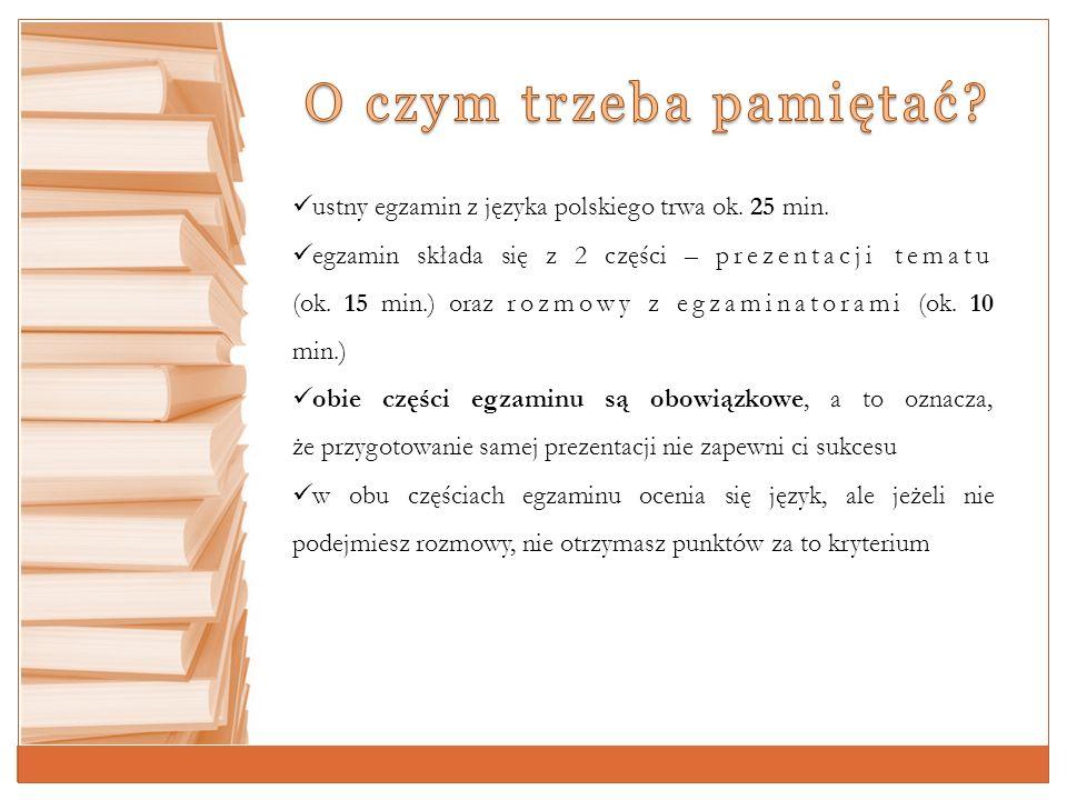 KryteriaPunkty % ogólnej punktacji Prezentacja tematu: 5 25 zawartość merytoryczna 3 kompozycja wypowiedzi 2 Rozmowa 735 Język 840 Aby zdać egzamin, musisz uzyskać co najmniej 6 punktów (30%).