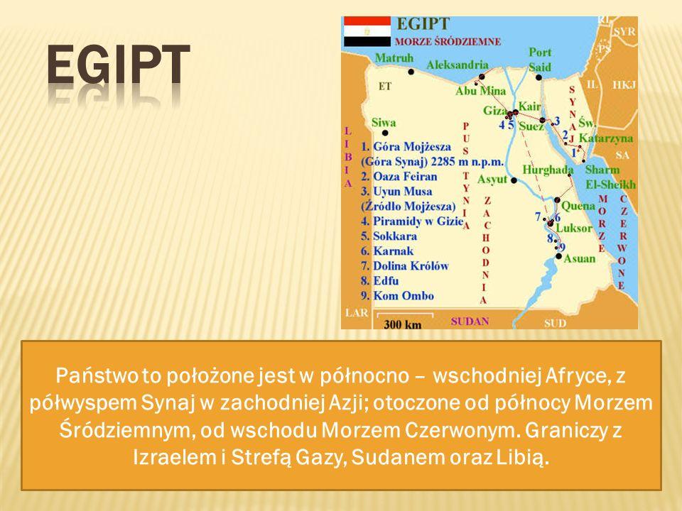 Państwo to położone jest w północno – wschodniej Afryce, z półwyspem Synaj w zachodniej Azji; otoczone od północy Morzem Śródziemnym, od wschodu Morze