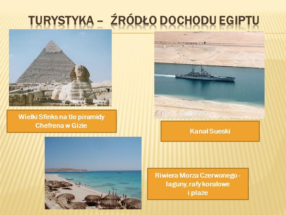 Wielki Sfinks na tle piramidy Chefrena w Gizie Kanał Sueski Riwiera Morza Czerwonego - laguny, rafy koralowe i plaże