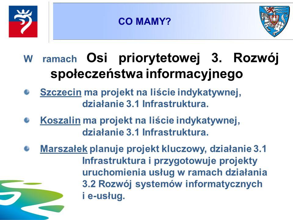W ramach Osi priorytetowej 3. Rozwój społeczeństwa informacyjnego Szczecin ma projekt na liście indykatywnej, działanie 3.1 Infrastruktura. Koszalin m