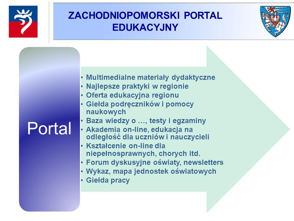 ZACHODNIOPOMORSKI PORTAL EDUKACYJNY Multimedialne materiały dydaktyczne Najlepsze praktyki w regionie Oferta edukacyjna regionu Giełda podręczników i